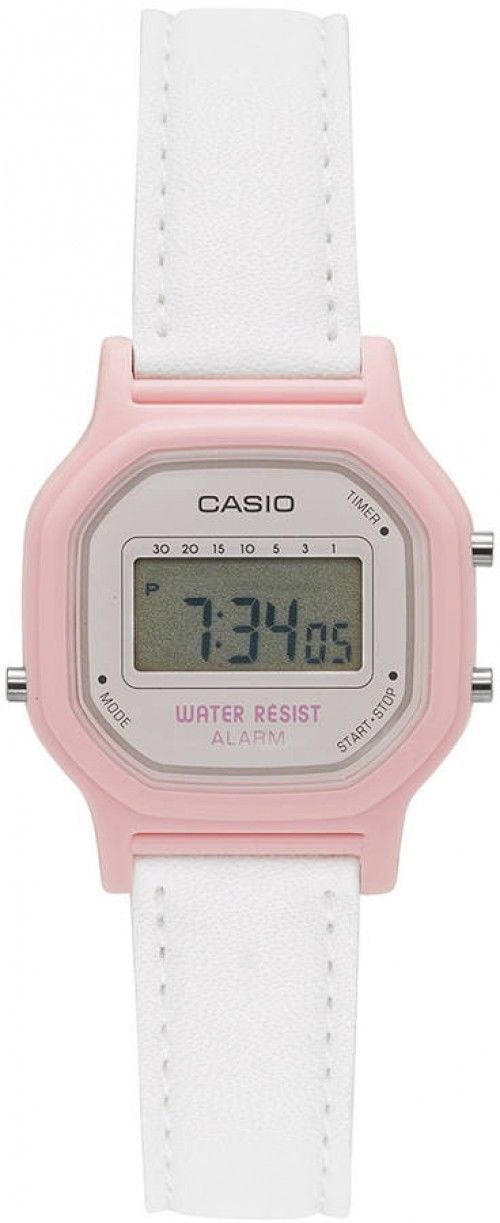 CASIO Womens Casual Digital Watch White Pink Leather Strap Alarm WaterResistant