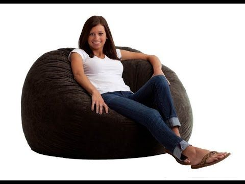 Comfort Research Large Fuf Bean Bag Chair In Black Onyx Suede