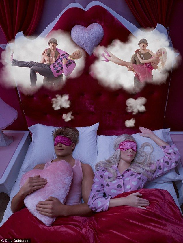 Dreams: In one of the series' most telling photos, Ken (left) is shown dreaming of a shirtless man saving his life
