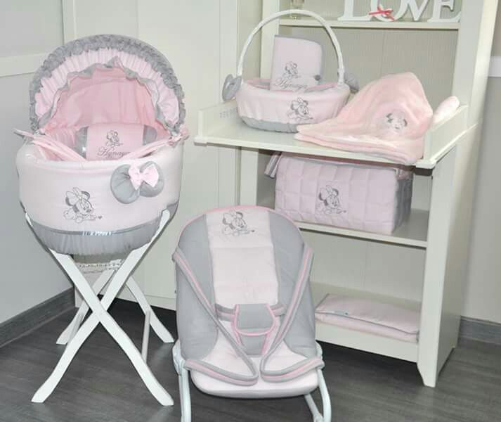 Ensemble couffin transat accessoires minnie rose et for Collection chambre bebe