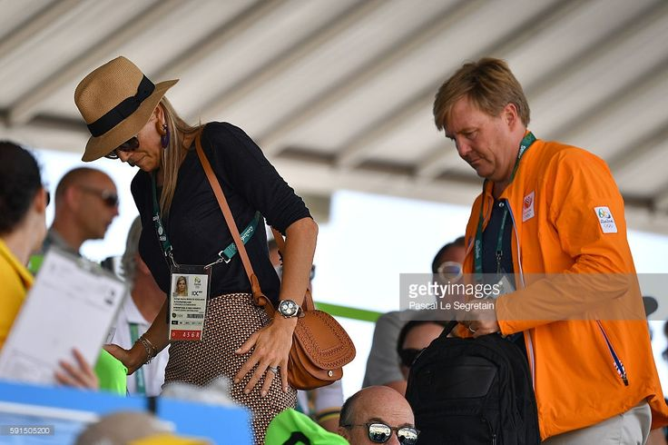 Queen Maxima of the Netherlands and King Willem Alexander of the Netherlands attend the round 2 of the Equestrian Jumping team at the Olympic Equestrian Centre on August 17, 2016 in Rio de Janeiro, Brazil.