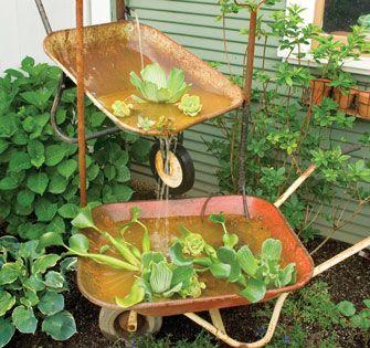 Try This: Wheelbarrow Garden Fountain - Green Homes - Natural Home & Garden