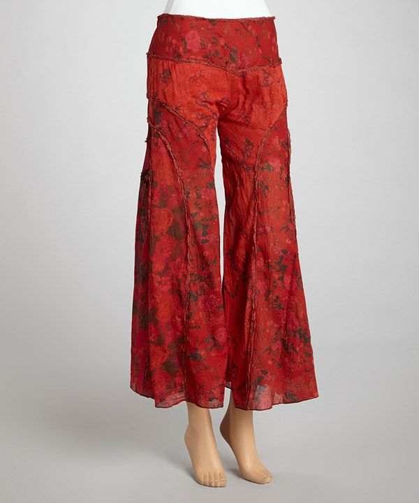 This Red Floral Gaucho Pants by The OM Company is perfect! #zulilyfinds