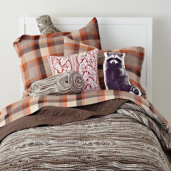 The Land of Nod | Boys Pillows: Camping Log Throw Pillow in Throw Pillows