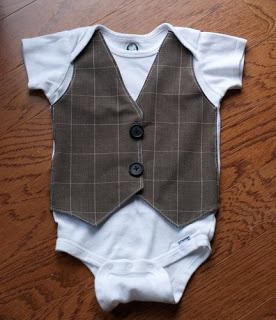 B is for Boy!: Little Gentleman's Faux Vest Onesie. Used her pattern to applique and it turned out to stinking cute!
