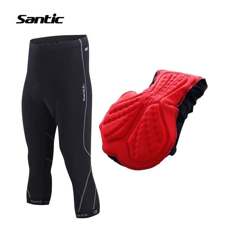 SANTIC 3/4  Cycling Shorts Men Summer Black With 4D Coolmax Pad Riding Bicycle Bike Short Pants Sportswear Cycling Clothes 2017