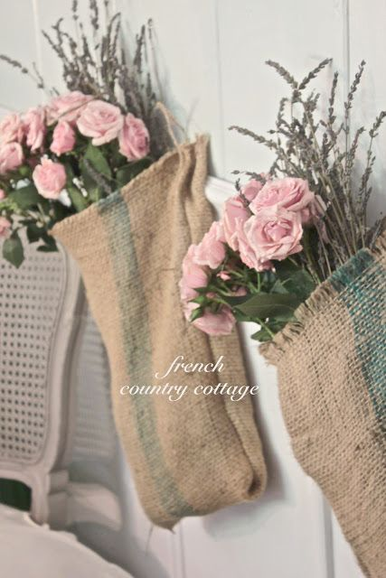 FRENCH COUNTRY COTTAGE: Burlap & Blooms.....I'm seeing burlap in many places...it seems to catch/match all of the muted French color tones well