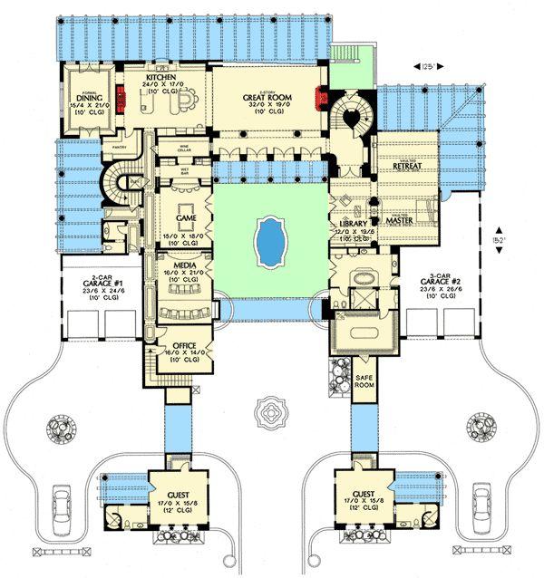 45 best blueprints images on pinterest floor plans for Castle house plans with courtyard