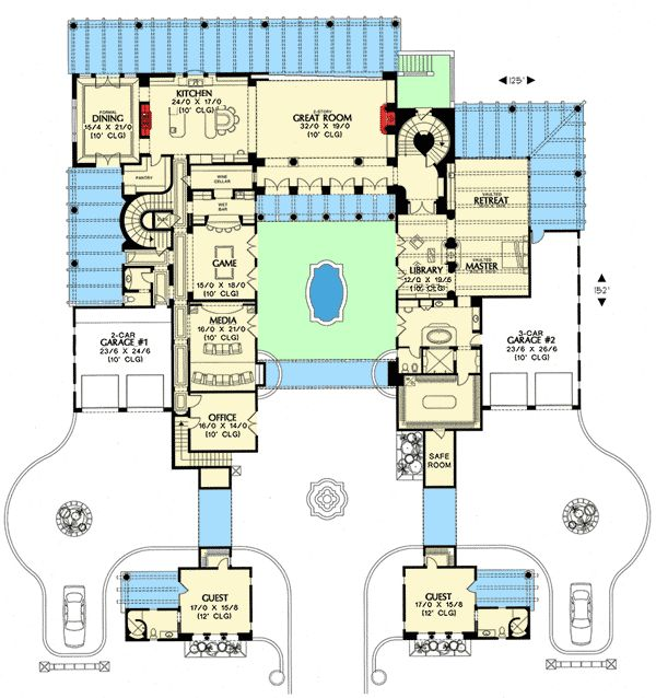 Plan 16385md southwestern estate home design bath and for Southwestern floor plans
