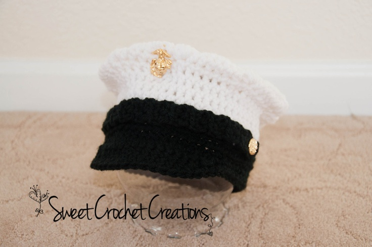 US Marine Corps Dress Blues Hat by SweetCrochetCreation on Etsy
