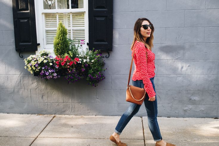 Bright Colors In Charleston   Featuring An H&M Red Top, Sancia Lilou Camel Bag, H&M Jeans And Seychelles Tan Loafers   Wolf & Stag