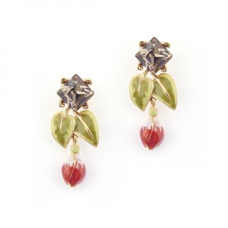 Fuchsia Leaf Crystal Drop Earring