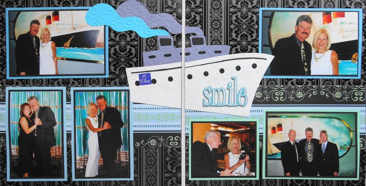 Scrapbook Page - Cruise Formal Night - 2 page travel layout with a cruise ship - from Travel Album 3