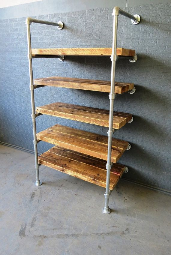 Reclaimed Industrial Chic Custom Made Scaffold Pipe Shelving Furniture Solid Wood & Metal.Bar Cafe Restaurant Steel Wood Made to Measure