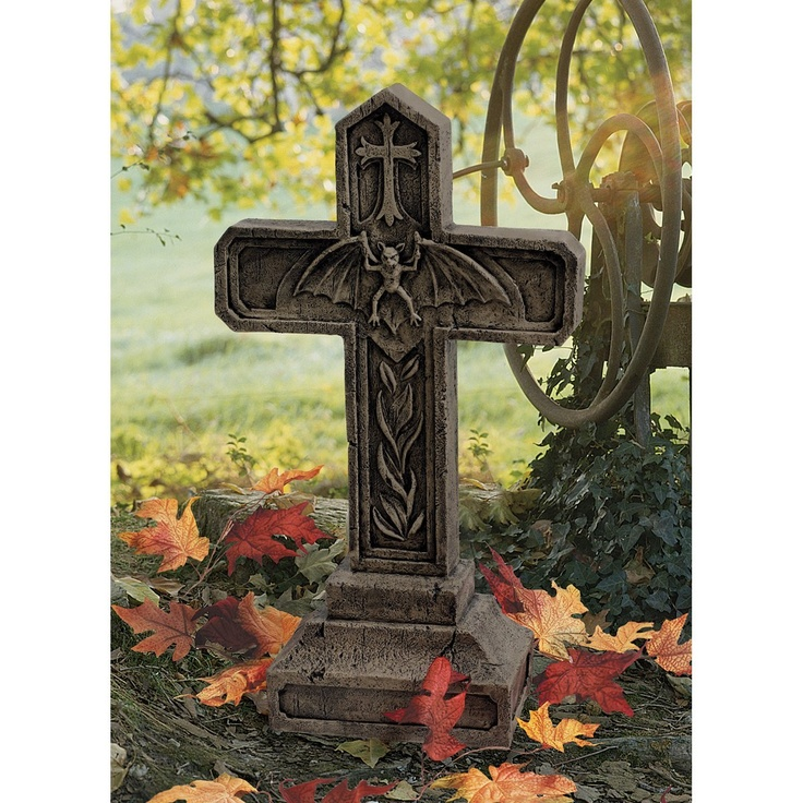 xoticbrandsnet 24 gothic vampire blood cross statue tombstone sculpture fun - Halloween Statues