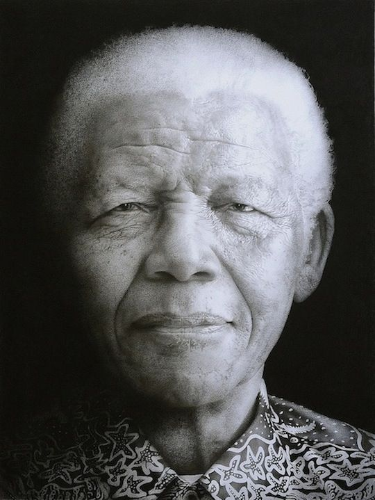 Nelson Mandela. Black chalk and pencil drawing by Paul Emsley who just painted Kate Middleton.
