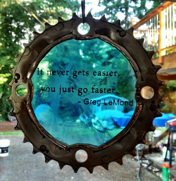Bicycle Art Greg Lemond Stained Glass Quote Cog by VeloGioielli