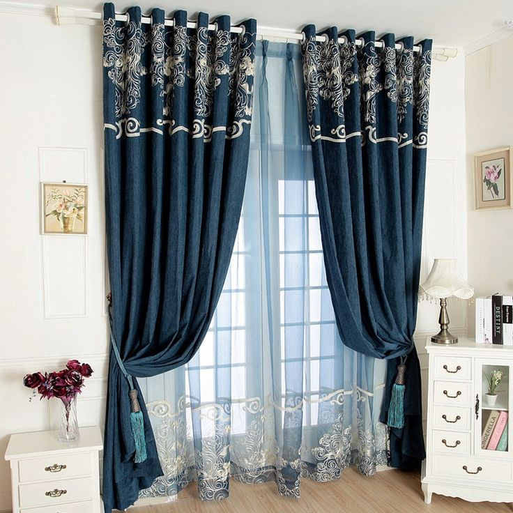 LUXURY Chenille Embroidery Curtains Set Sheer Drapes Brief Window Blind Full Blackout Customization Deco Rideau On SaleCheap