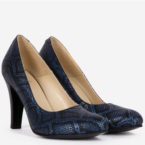 Pantofi din piele naturala cu imprimeu tip piele de reptila albastri cu negru Zeus