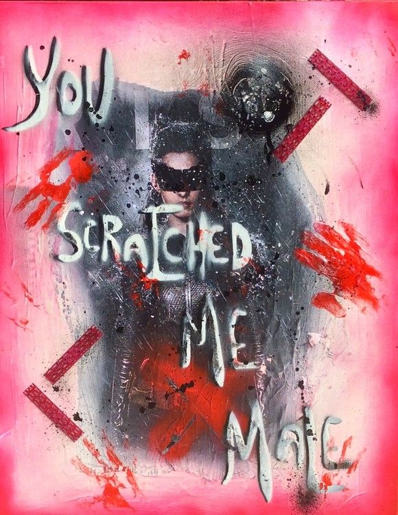 Cat Woman is scratched (Peinture),  70x93x2 cm par Rose-Agathe Steiner Technique mixte avec visuel Catwoman
