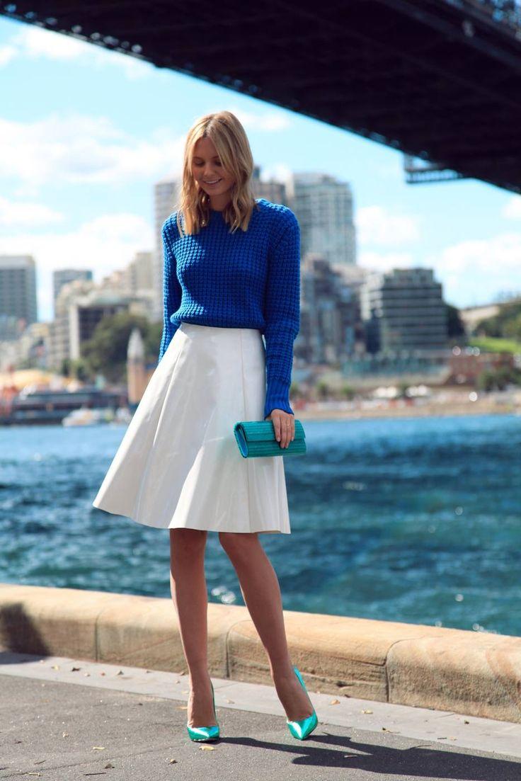full white skirt + cobalt sweater