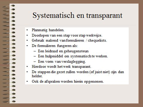 HGW: systematisch en transparant