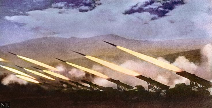 A battery of Katyusha rocket launchers fires at German forces during operation Bagration,June-August,1944.