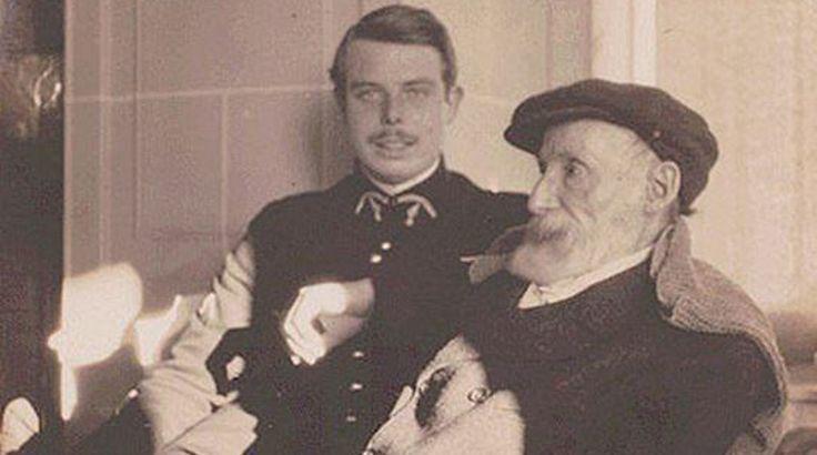 Pierre Auguste Renoir con il figlio Jean, famoso regista.  Il figlio primogenito Pierre è stato invece un attore,inoltre è padre di Claude, direttore della fotografia e nonno di Sophie, anch'ella attrice.