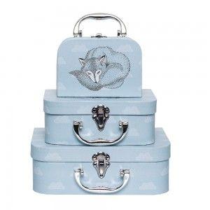 Zestaw walizeczek z liskiem, niebieski - Bloomngville