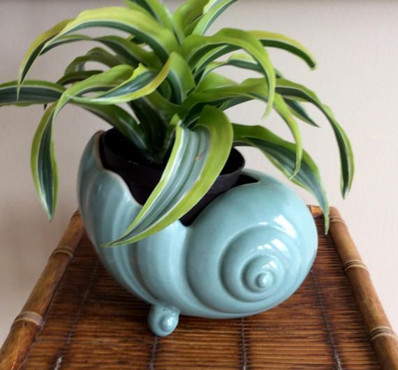 Gorgeous ceramic aqua blue with pink inside seashell planter. Nautilus style footed planter with #711 stamped on bottom. In very good vintage condition, no chips or cracks. Ready for succulents, house plants, bookshelf, front porch, deck or bathroom/bedroom decor! Will ship insured!  Measures 7.5 long x 5 wide x 5.75 height, opening 4.75 long x 4 wide  Thanks for shopping YellowHouseDecor!  Please visit my sisters shop for more vintage items ( ellansrelics02)