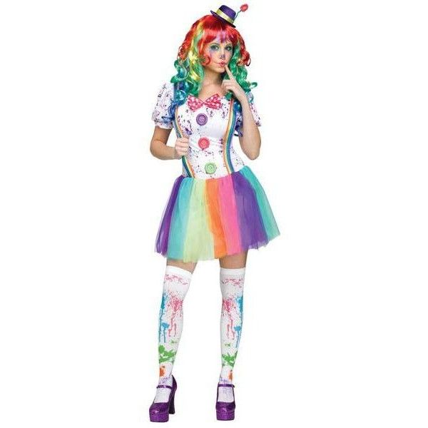 Women's BuySeasons Crazy Color Clown Adult Costume ($48) ❤ liked on Polyvore featuring costumes, grey, tops & tees, ladies halloween costumes, ladies costumes, colorful costumes, adult halloween costumes and womens costumes