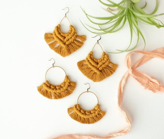 482420156 Mustard macrame earrings, bohemian jewelry, fringe, boho statement earrings,  girlfriend gift, gypsy