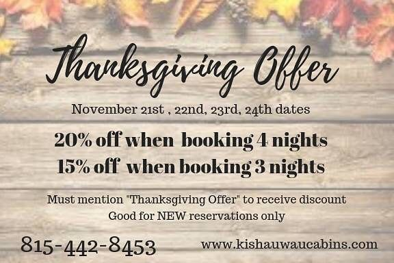 To Book Over The Thanksgiving Holiday We Always Require A 4 Night Minimum Of Wednesday Sunday However In 2020 Dog Friendly Cabins Thanksgiving Deals Cabin Rentals