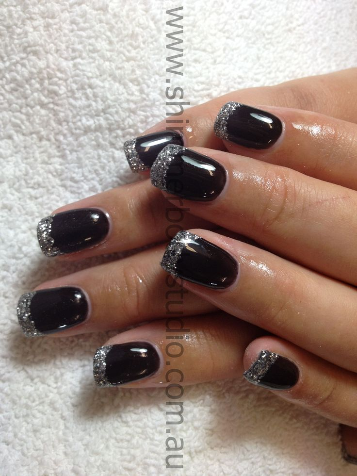 Black Gel Nails With One Silver Glitter Nail: Gel Nails, Gel Polish, Black Nails, Silver Glitter, Nail