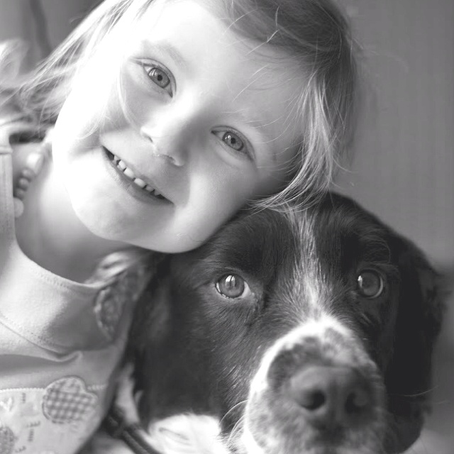 Puppy love #springer #spaniel #peterboroughphotigraphy.com  My daughter and my little dog, just so cute.