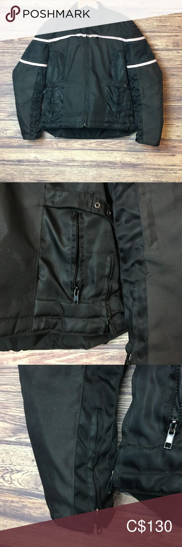 Ladies Screaming Eagle Motorcycle Riding Jacket Ladies XXL Screaming Eagle Mesh Motorcycle Biker Riding Coat Jacket. Color Black. Features hand pockets, zip cuffs, adjustable buckle on side front, and padded shoulders and elbows. Size XXL. Excellent condition. All zippers work. No damage or stain. See photos for full details.  Measurements Overall Length: 25