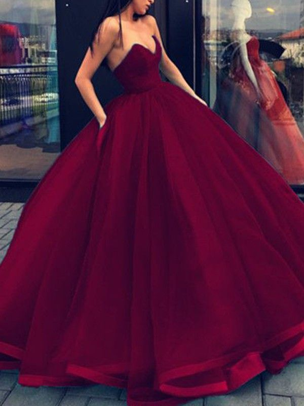 6ab15569f71 Ball Gown Burgundy Sweetheart Organza Floor-Length Prom Dresses ...