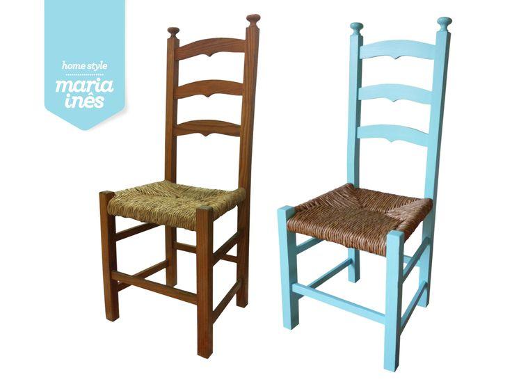 Esta cadeira é tipicamente alentejana e foi encontrada na rua. Foi empalhada, colada e pintada! Valeu a pena o trabalho, não foi? Vendida.