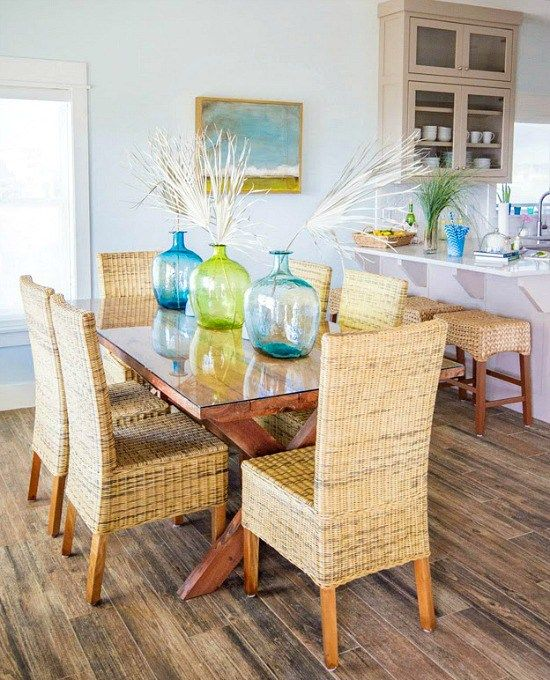 Happy Bright Blue And Green Beach Home. Beach Dining RoomDining AreaDining  RoomsHouse ...