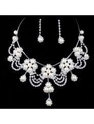 Alloy with Rhinestones and Pearls Wedding Jewelry Set,Including Earrings and Necklace (Two Colors Available)