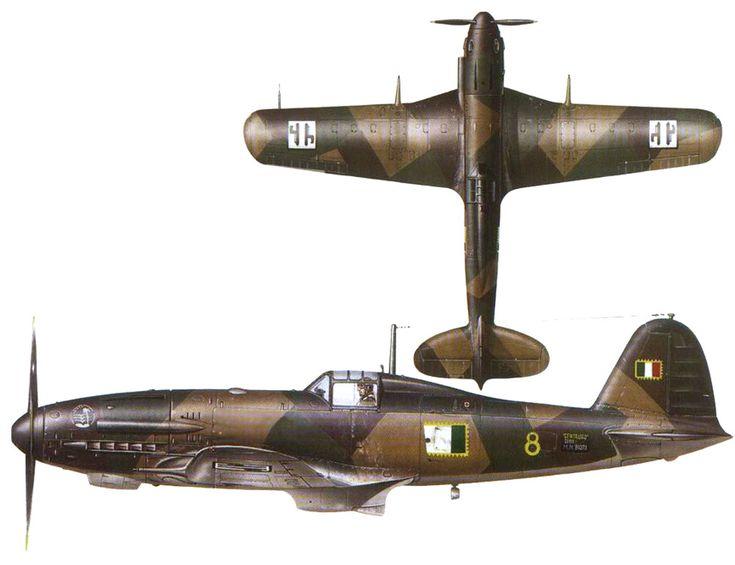 """Fiat G.55 """"Centauro"""" - Aeronautica Nazionale Repubblicana (A.N.R.)  """"Giallo 8"""" - Aereo da caccia diurno, monoposto, monomotore, da intercettazione e superiorità aerea. Lunghezza: 9,37 m Apertura alare11,85 m Altezza3,13 m Superficie alare21,11m² Peso a vuoto2 630 kg Peso max al decollo3 720 kg Propulsione Motore: Fiat 1050 RC.58 Tifone 12 cilindri a V raffreddato a liquido Potenza1 475 CV Prestazioni Velocità max620 km/h a 7 400"""