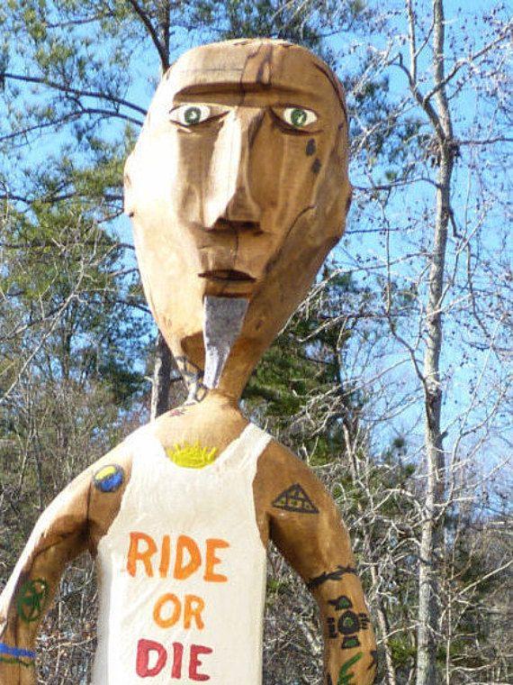 John Lynch Wood Sculpture Folk Art  Ace the by ArtVineyard on Etsy