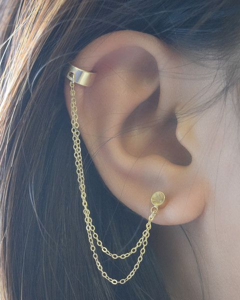 Double Chain Cuff Earring - available in gold by Olive Yew. Petite gold cup stud earring is connected to a lightweight cuff by 2 shiny chains.