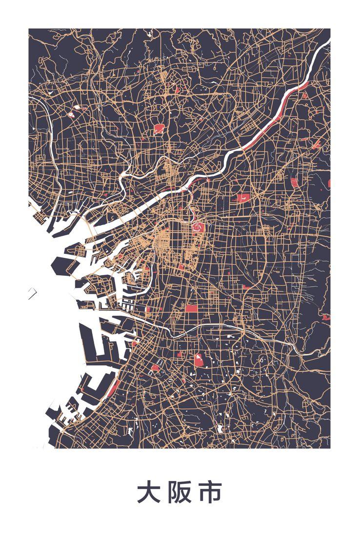 Amazing map art of Osaka Japan 101