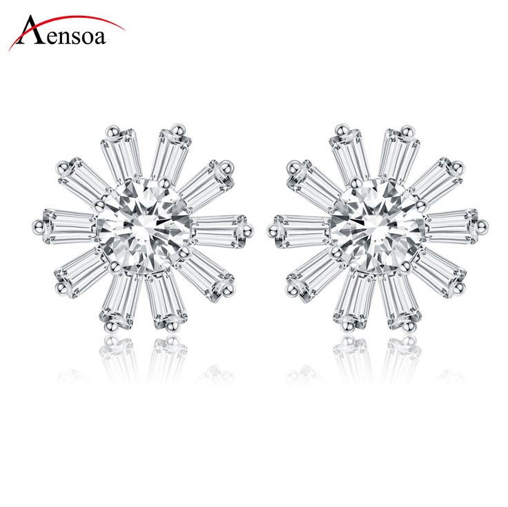 High Quality White Gold Plated Flower Cubic Zirconia Drop Stud Earrings Jewelry #Aensoa #Stud #AnniversaryPartyGiftsDating