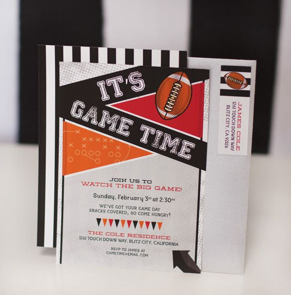It's Game Time Football Party Print on Demand Invitation #HWTMGameTimeGuide