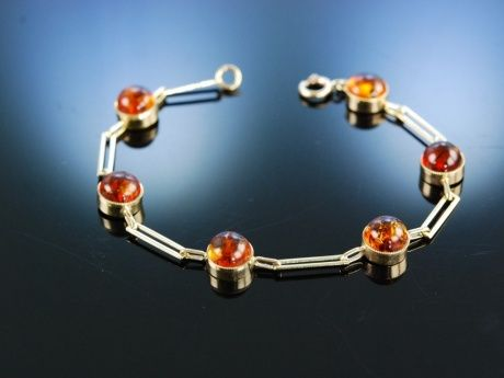 Lovely vintage amber and gold bracelet! Armband Gold 333 Bernstein um 1985, Bernsteinschmuck bei Die Halsbandaffaire