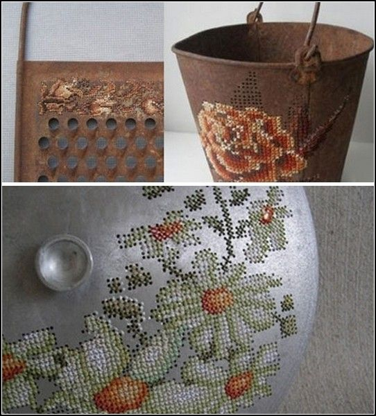 Severija Incirauskaite is a textile artist who Lithuanian border to cross stitch  metal objects from everyday life