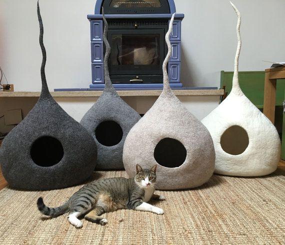 Cat Cave Drop Cat Bed Cat House Pet Furniture. by WoolyCatCaves