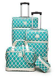 new directions jet set 4piece luggage set aqua trellis
